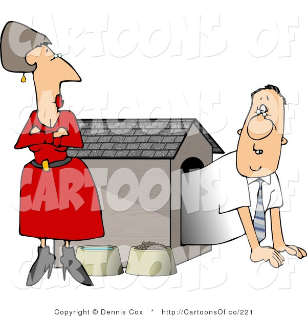 Cartoon Illustration of a Cautious Hubby Emerging from a Dog House by His Wife