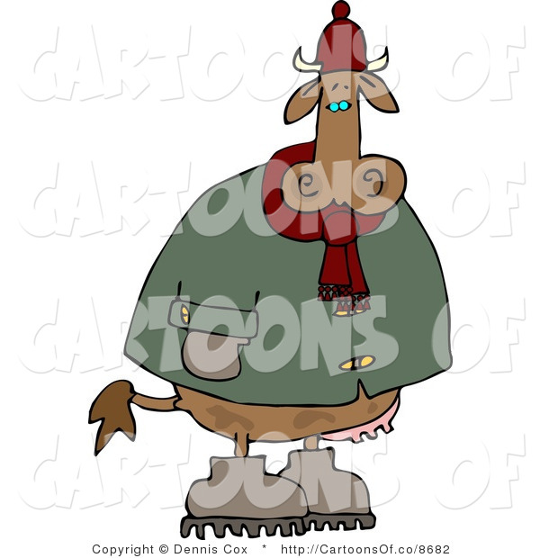 Cartoon Illustration of a Cold Cow Wearing a Coat and Hat