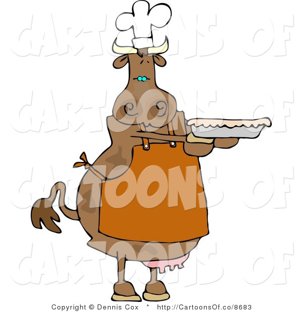 Cartoon Illustration of a Cow Baker with a Pie