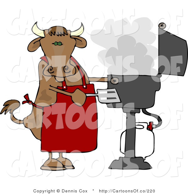 Cartoon Illustration of a Cow Chef Barbecuing