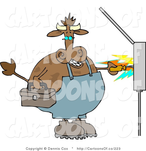 Cartoon Illustration of a Cow Electrician with Sparks