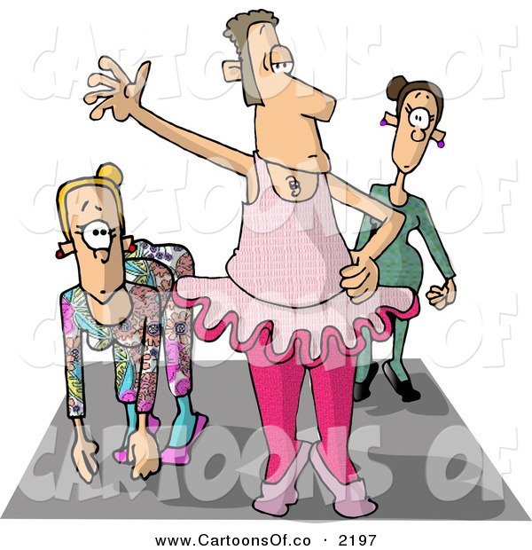 Cartoon Illustration of a Crossdresser Man Wearing Womens Ballerina Dance Clothing