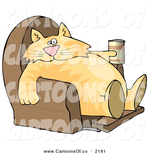 Cartoon Illustration of a Cute and Funny Human-like Cat Sitting on a Recliner Chair with a Can of Beer