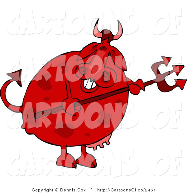 Cartoon Illustration of a Devil Cow Holding a Pitchfork
