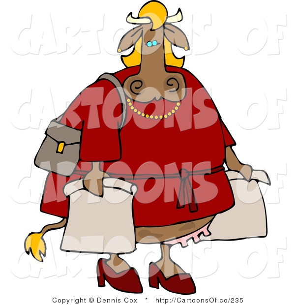 Cartoon Illustration of a Female Cow Shopper