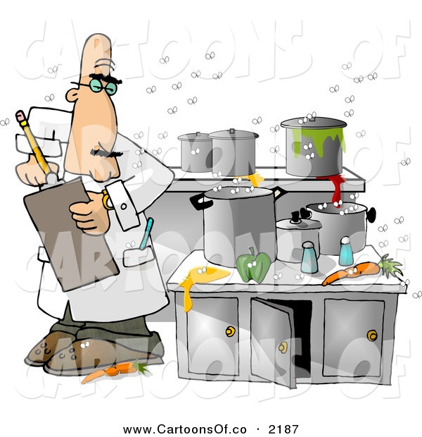 Messy Dirty Kitchen: Cartoon Illustration Of A Food Health Inspector Inspecting