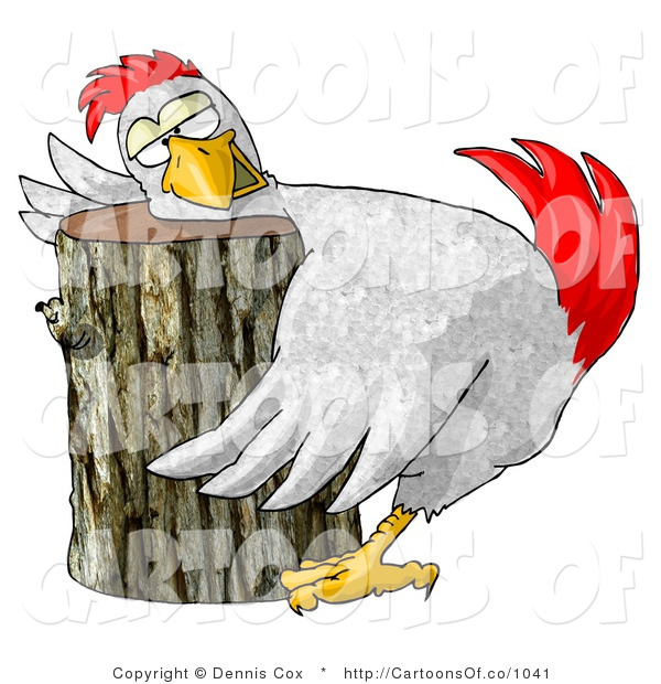 Cartoon Illustration of a Funny Chicken Resting Its Head on a Wood Chopping Block