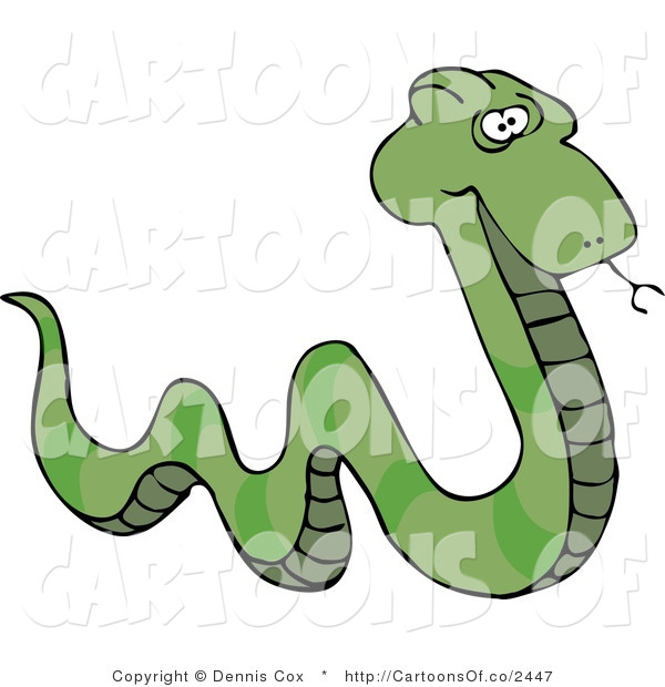 Cartoon Illustration of a Green Patterned Snake with a Forked Tongue