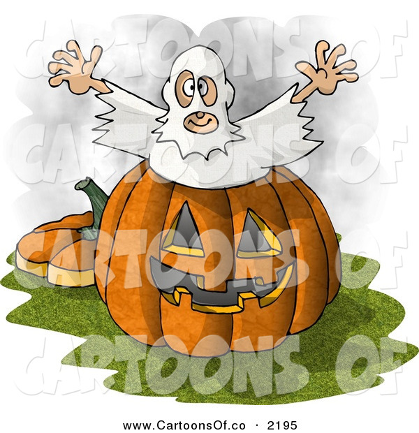 Cartoon Illustration of a Halloween Ghost Costume Man Jumping out of a Pumpkin Jack O Lantern