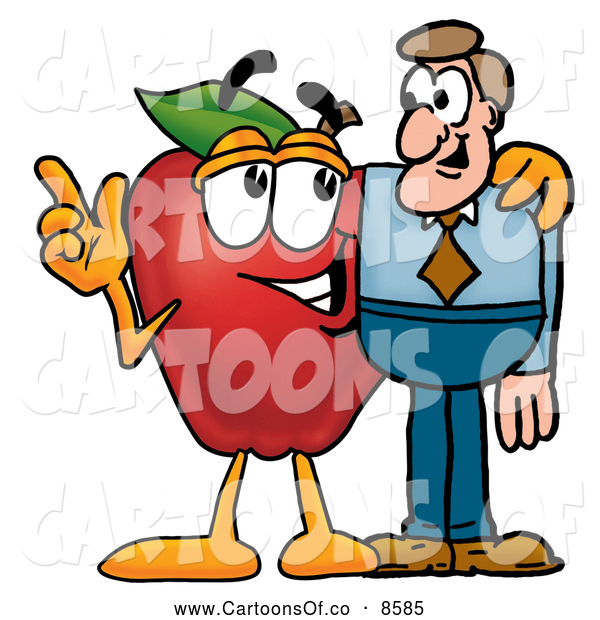 Cartoon Illustration of a Happy Red Apple Character Mascot Talking Nutrition with a Business Man