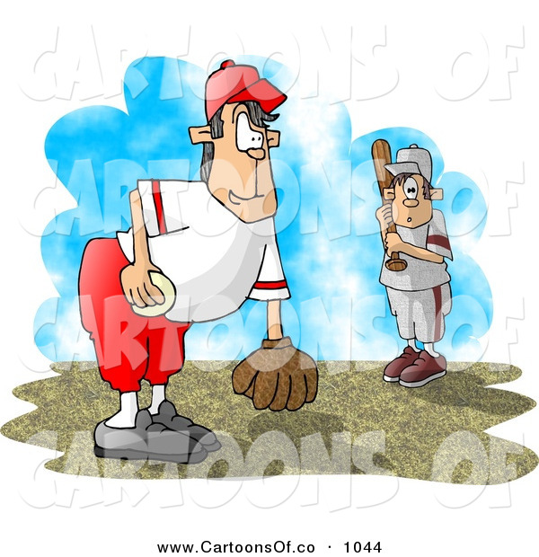 Cartoon Illustration of a Little League Baseball Pitcher and Batter Waiting for the Game to Start