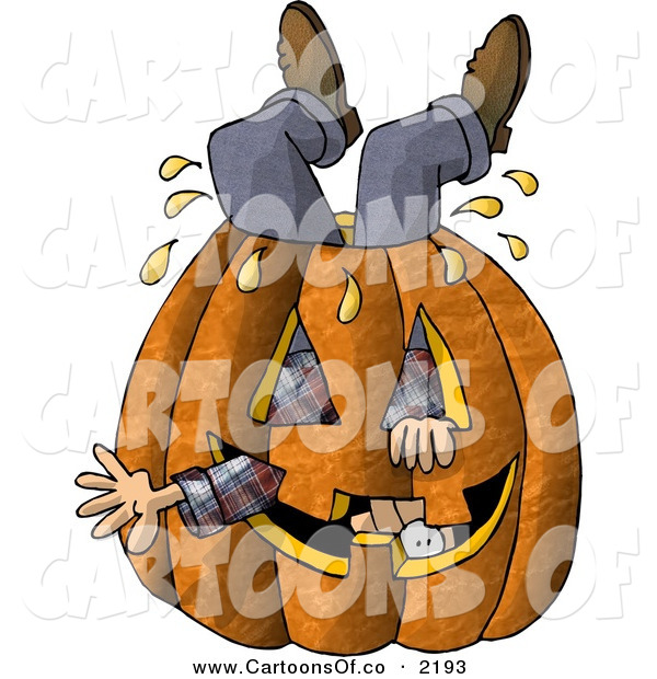 Cartoon Illustration of a Man Stuck Inside a Big Halloween Pumpkin Jack O Lantern with a Carved Face