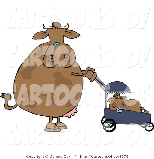 Cartoon Illustration of a Mother Cow Pushing Her Calf in a Baby Stroller