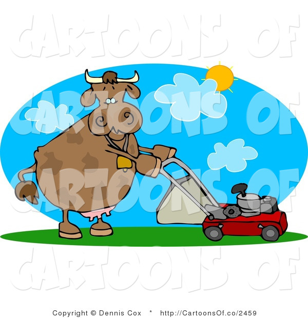 Cartoon Illustration of a Mower Cow