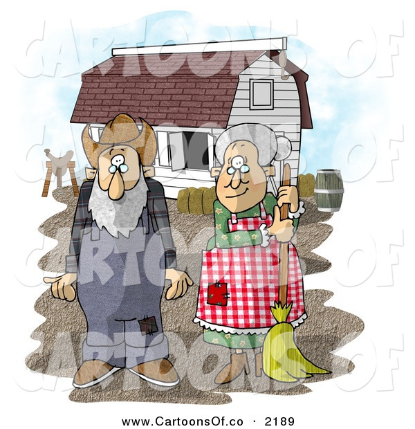 Cartoon Illustration of a Old Farmer Wife and Husband Standing in Front of a Barn