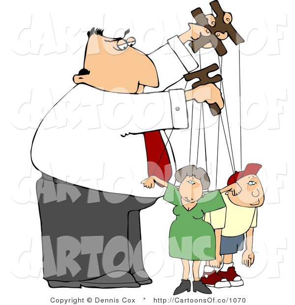 Cartoon Illustration of a Puppeteer Guy Controlling His Family