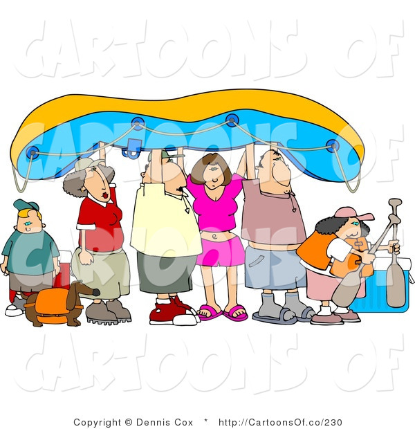 Cartoon Illustration of a Rafting Family Carrying a Boat over Their Heads