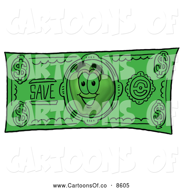 Cartoon Illustration of a Red Apple Character Mascot on a Green Cash Dollar Bill