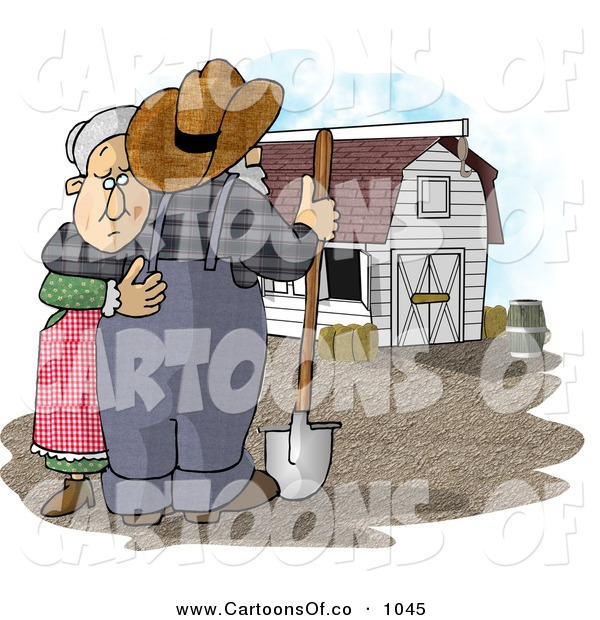 Cartoon Illustration of a Sad Farmer Wife Hugging Her Husband Who Is Looking at Their Barn and Farm