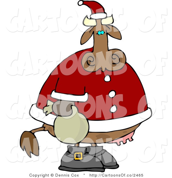 Cartoon Illustration of a Santa Christmas Cow
