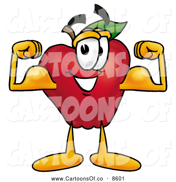 Cartoon Illustration of a Smiling Red Apple Character Mascot Flexing His Arm Bicep Muscles