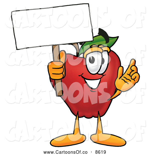 Cartoon Illustration of a Smiling Red Apple Character Mascot Holding a Blank White Sign over His Head