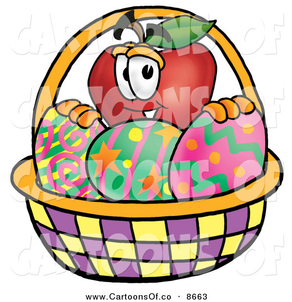 Cartoon Characters Easter Baskets : Cartoon illustration of a smiling red apple character