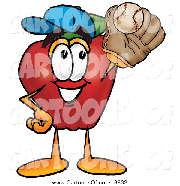 Cartoon Illustration of a Sporty Red Apple Character Mascot Catching a Baseball with a Glove on White