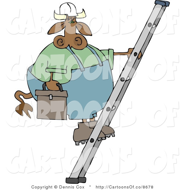 Cartoon Illustration of a Worker Cow on a Ladder