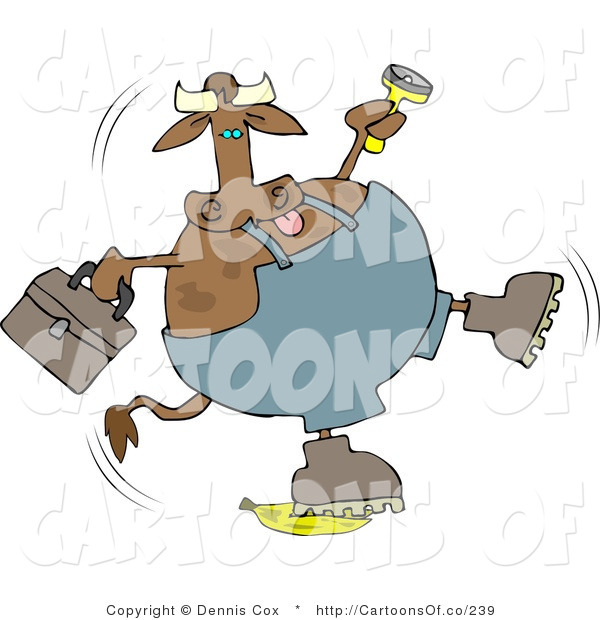 Cartoon Illustration of a Worker Cow Slipping on a Banana