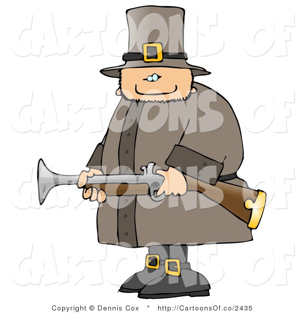 Cartoon Illustration of an Armed White Pilgrim Man Hunting Birds