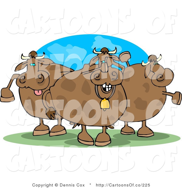 Cartoon Illustration of Silly Cows