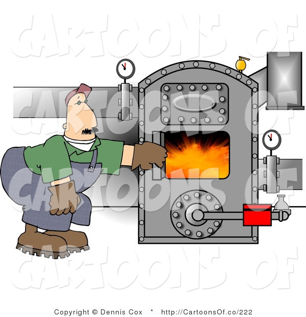 Illustration of a Boiler Worker Man Checking the Furnace