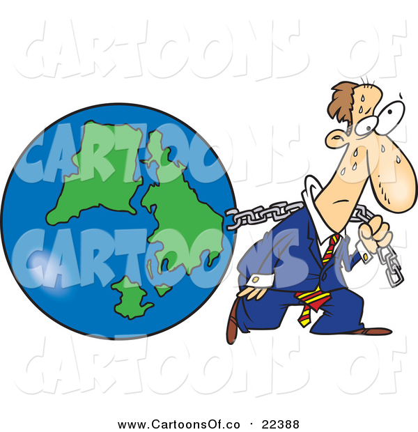 Illustration of a Cartoon Exhausted White Businessman Pulling Earth
