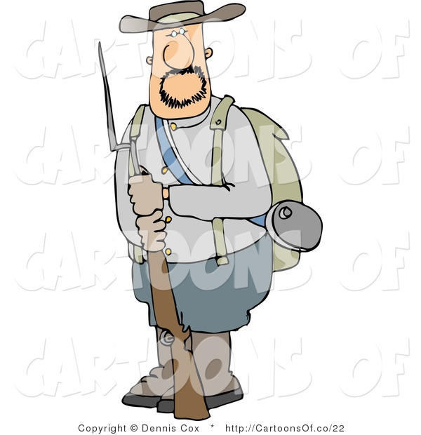 Illustration of a Confederate Army Soldier with Rifle and Bayonet