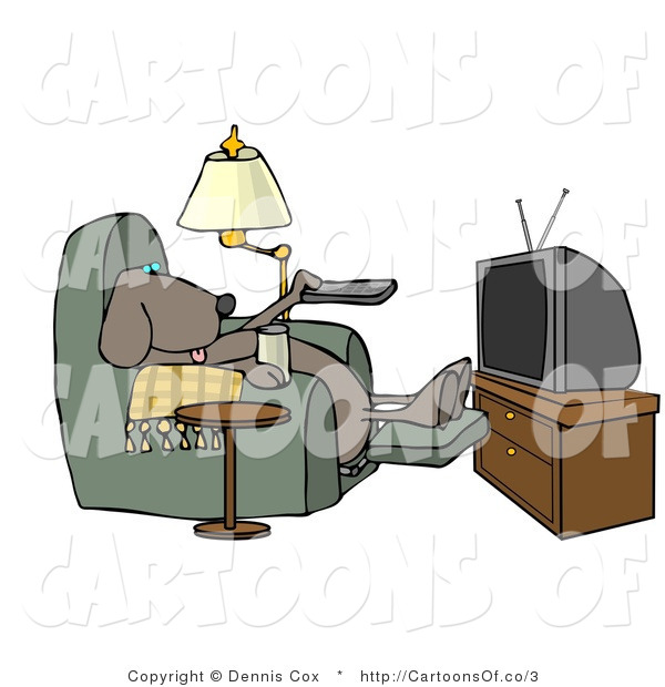 Illustration of a Lazy Pooch Watching TV