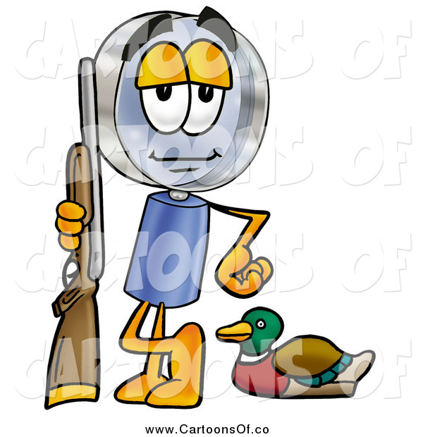Illustration of a Magnifying Glass Cartoon Character Duck Hunter