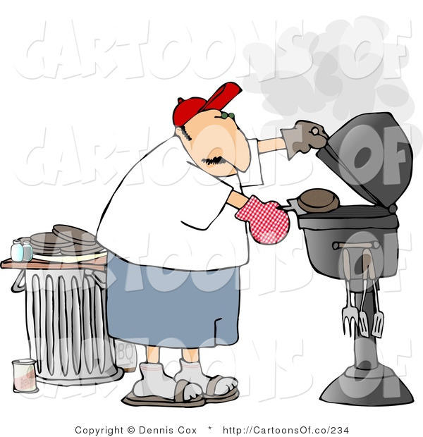 Illustration of a Man Barbequing Hamburger Patties