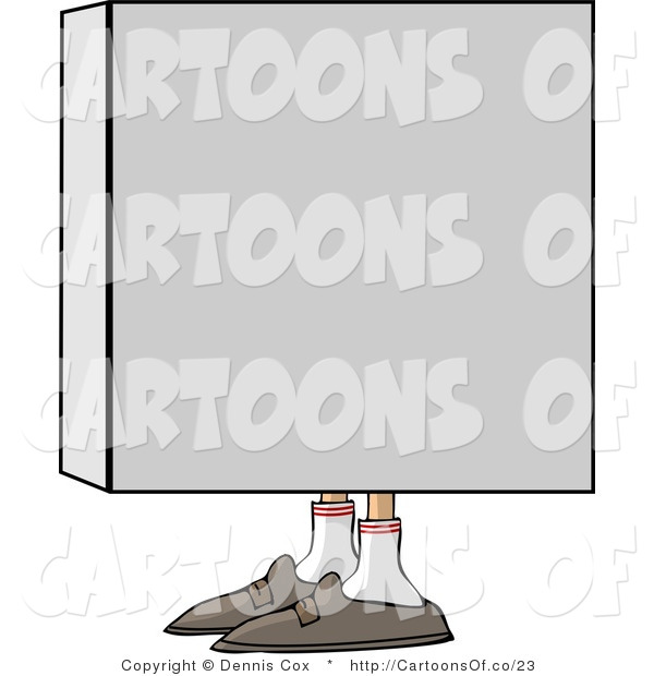 Illustration of a Mans Shoes Sticking out from a Box