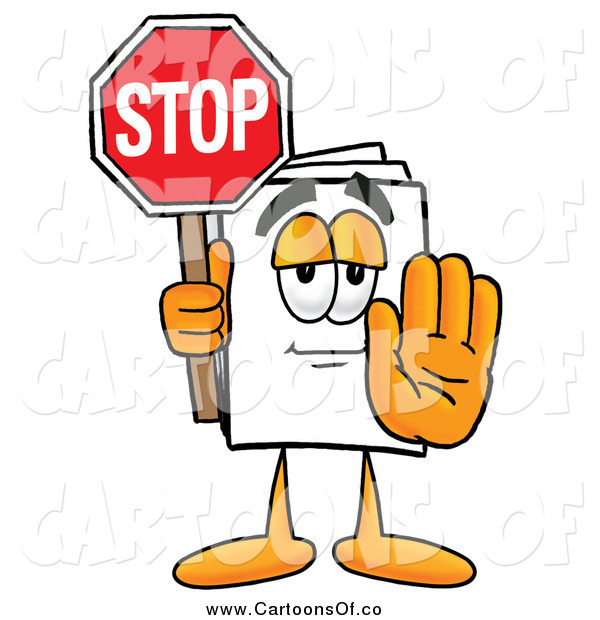 Illustration of a Paper Mascot Holding a Stop Sign