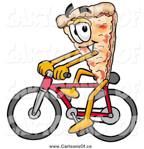 Illustration of a Pizza Mascot Cartoon Character Riding a Bicycle