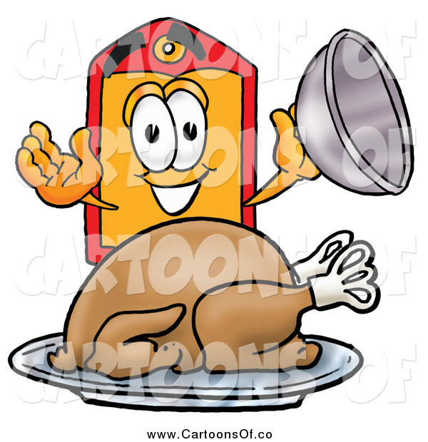 Illustration of a Price Tag Character Serving a Thanksgiving Turkey on a Platter