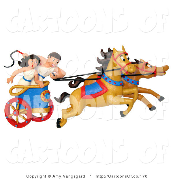 Illustration of a Roman Couple in a Chariot