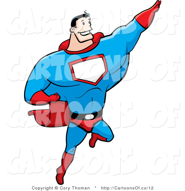 Illustration of a Strong Super Hero Flying