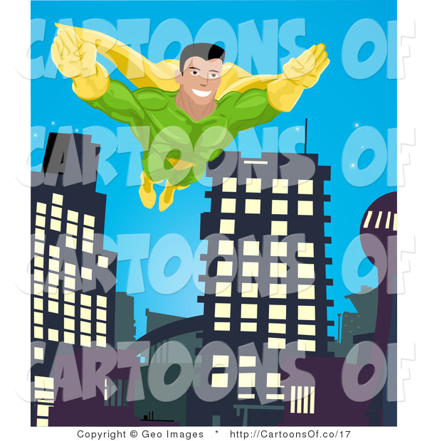 Illustration of a Super Hero Man Flying Through a City