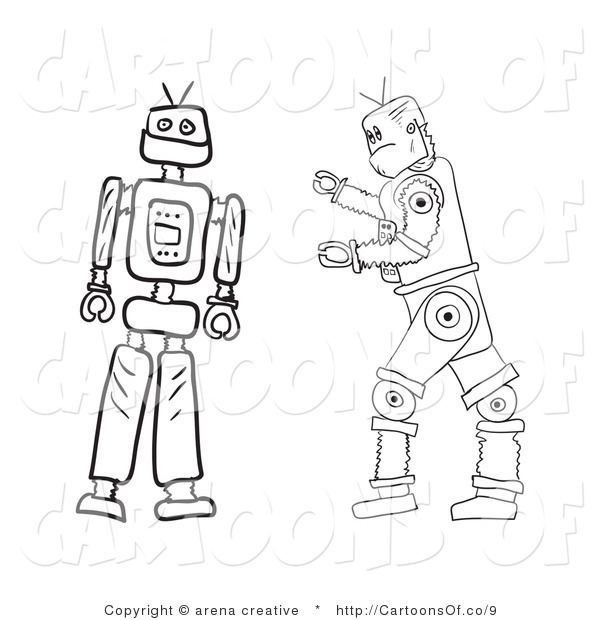 Illustration of Outlined Robots