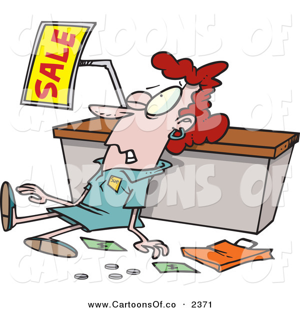 Vector Cartoon Illustration of a Beat up and Tired Employee Trampled During a Sale
