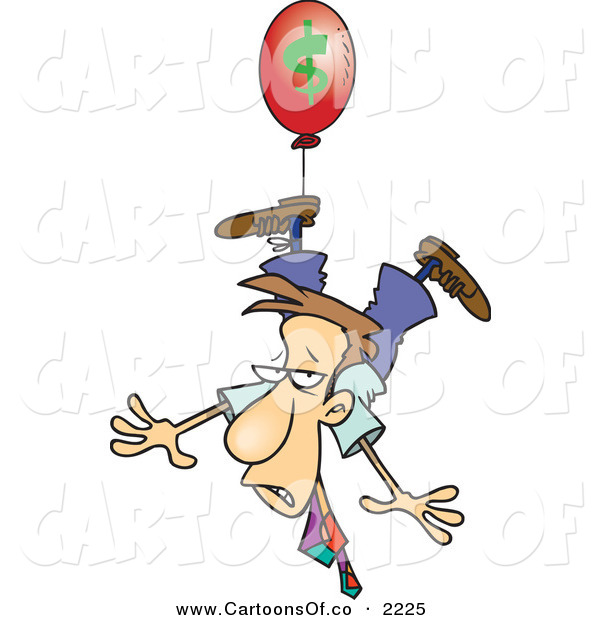 Vector Cartoon Illustration of a Business Man Being Carried Away by a Red Inflation Balloon