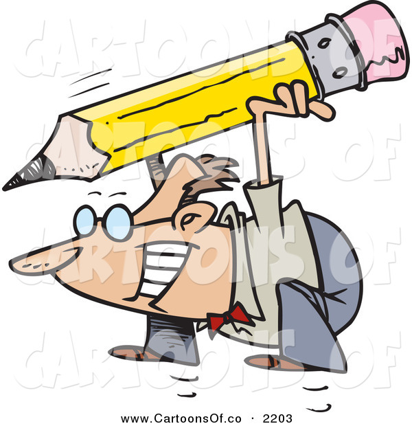 Vector Cartoon Illustration of a Business Man Squatting with a Giant Pencil