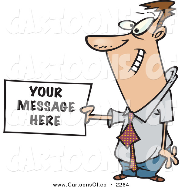 Vector Cartoon Illustration of a Caucasian Business Man Holding a Sign Ready for Your Text on White